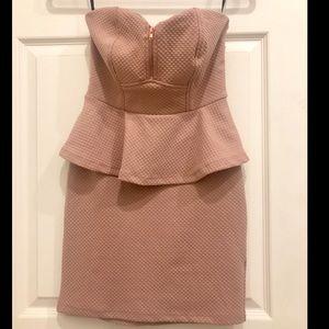 2B Bebe Rose Pink Peplum Dress